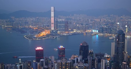 Fototapete - Hong Kong landmark in the evening
