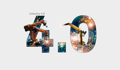 Industry 4.0 concept, iot, automation robot arms machine and monitoring system software, Welding robotics and digital manufacturing operation and industrial technology.