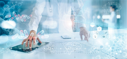 Medicine doctor analysis electronic medical record on interface display. DNA. Digital healthcare and network connection, innovative, medical technology and network concept.