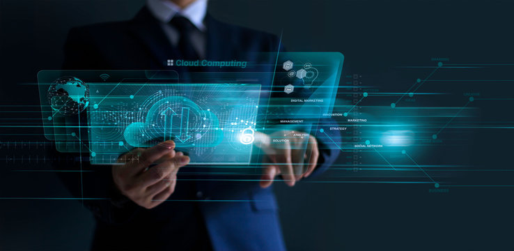 Businessman working financial trading and digital marketing with a cloud computing on modern virtual interface, cyber security, innovation and technology on dark background.
