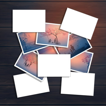 Stack of photos on wood background with empty place for  inscription. Template for cover. Print and save memories. Inspiration board with photo collage