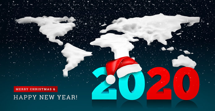 Happy New Year 2020 on the background of a snowy ice world map. Numbers 2020 under the hat of Santa Claus. Vector