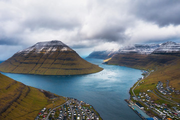 Wall Mural - Aerial view of the city of Klaksvik on Faroe Islands, Denmark