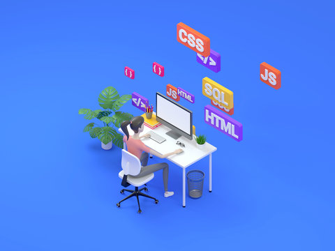 Female frontend developer sitting at a table in the modern office. Digital technology concept learning programming languages. Isometric Illustration 3d render.