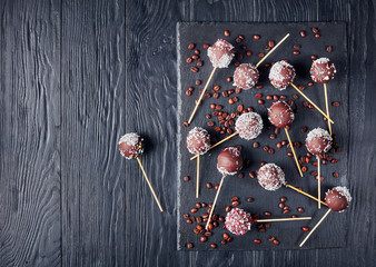 chocolate cake pops sprinkled with crushed candy