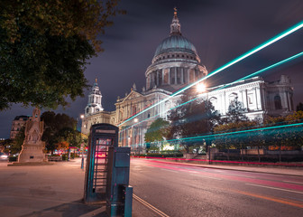 Long exposure outside St Pauls cathedral in Central London