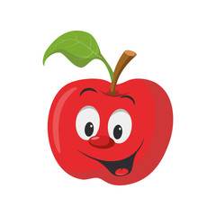 Fruits Characters Collection: Vector illustration of a funny and smiling apple character.