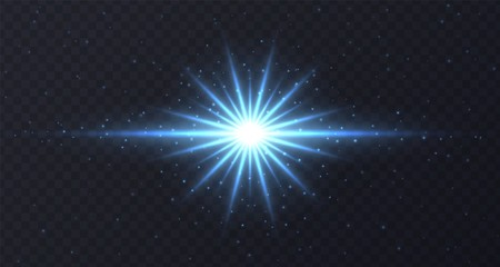 Shining flare with stars and sparkles isolated on dark transparent background. Blue lens flare, stardust, shining star with rays concept. Glowing vector light effect.