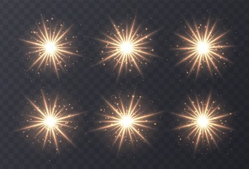 Light flares set isolated on transparent background. Golden lens flares, bokeh, sparkles, shining stars with rays collection. Glowing vector light effect. Vector illustration. Wall mural