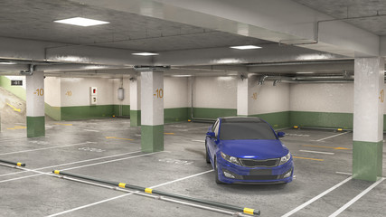 Wall Mural - Underground parking, incorrectly parked car, 3d illustration