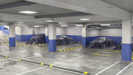 Wall Mural - Underground parking with covered cars, 3d illustration