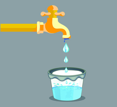 pouring water in bucket vector illustration | Water droop from the tap and fill the bucket