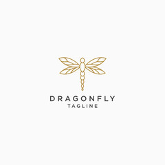 Dragonfly Logo Icon Design Template. Elegant, Luxury, Gold, Modern Vector Illustration