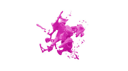 abstract isolated colored liquid splash in front of white background - 3D Illustration