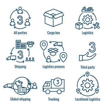 Logistics icon set with buildings, trucking, people & shipping box