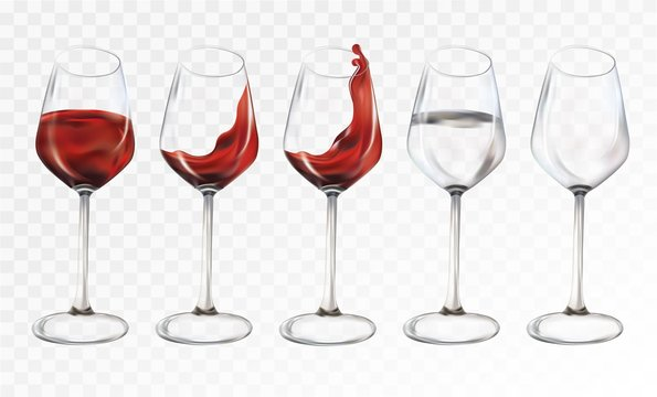 Collection wine glasses empty and water with glasses.Splashes red wine and water. 3D realistic transparent wine glasses. Vector illustration