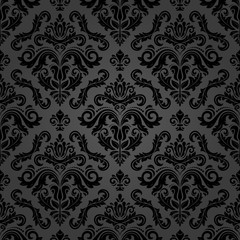Obraz Classic seamless vector pattern. Damask orient dark ornament. Classic vintage background. Orient black ornament for fabric, wallpaper and packaging - fototapety do salonu