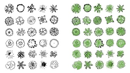 Various green trees, bushes and shrubs, top view for landscape design plan. Vector illustration, isolated on white background. - fototapety na wymiar