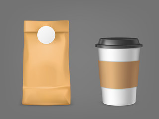 Coffee bag and disposable cup set isolated on grey background, blank plastic mug with cap and holder, paper package for beans advertising design elements Realistic 3d vector illustration, clip art