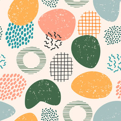 Abstract artistic seamless pattern with trendy hand drawn textures