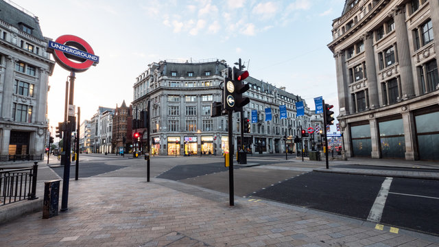 Empty London. Oxford Circus with no traffic or pedestrians. The busy shopping district is normally gridlocked with human traffic.