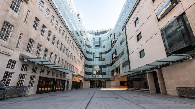 Empty London. Broadcasting House, Portland Place.  An unusually empty scene as the entrance is normally teeming with people.