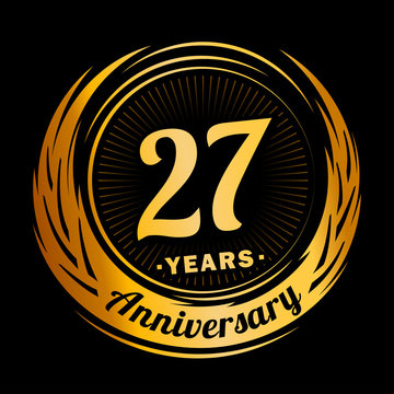 27 years anniversary. Anniversary logo design. Twenty-seven years logo.
