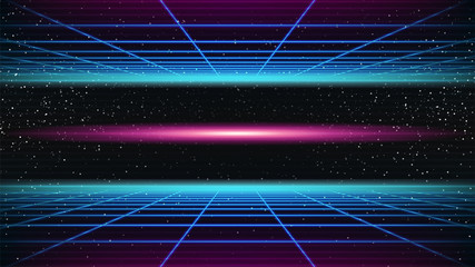 Synthwave background. 80s Retro style. Dark Futuristic 3d backdrop with blue Perspective Grids and red scary glowing in distance. Geometric sci-fi digital template. Stock vector illustration