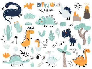 Custom vertical slats with your photo Set of cute dinosauts, foliage, volcano, cactus