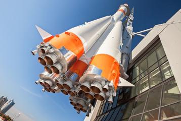 Russian space transport rocket Soyuz with rocket engines