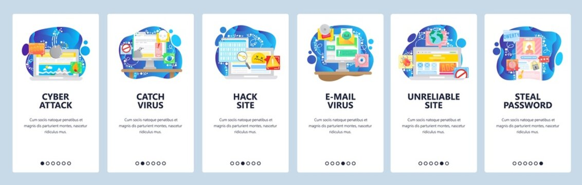 Mobile app onboarding screens. Cyber security, virus attack, hacker, password protection, phone lock, email malware. Vector banner template for website and mobile development. Web site illustration
