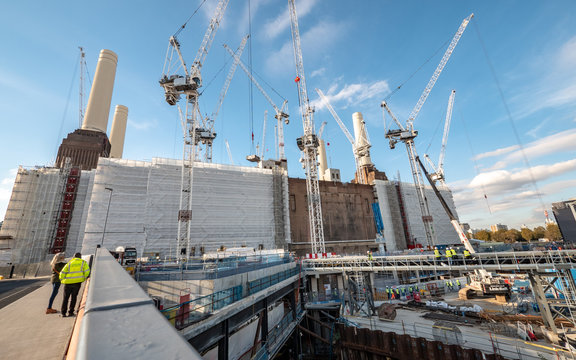 Battersea Power Station redevelopment. A major construction project underway on the gentrification of the famous London landmark.