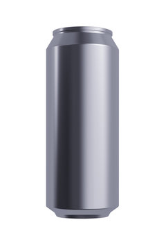 Alloy Beer or Soda can. 17 oz or 16 oz (500 ml, 50 cl, 0.5 l) Volume. Isolated High Resolution 3D Render on White.