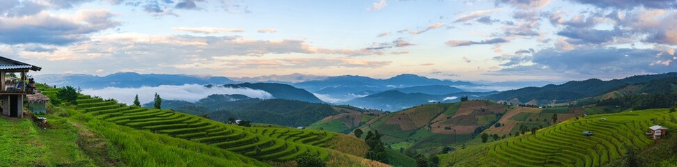 Foto auf AluDibond Reisfelder Panoramic landscape view of the mountain and rice terraces in the northern, Thailand