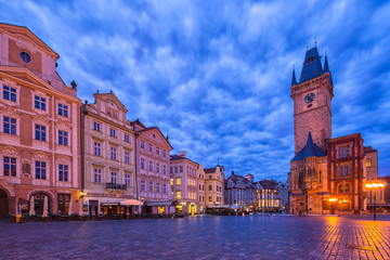 Wall Mural - View of Prague Orloj - medieval astronomical clock mounted on Old Town Hall in the Old Town Square, Prague, Czech Republic, Europe.