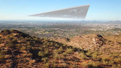 Poster UFO Triangle Alien Spaceship Hovering over Phoenix Arizona City Illustration