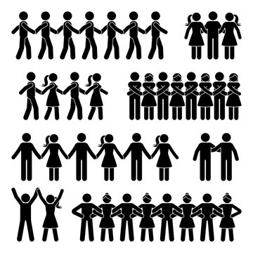 Stick figure chain people holding hands vector icon pictogram set. Man and woman team support group posture silhouette on white background