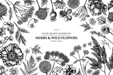 Floral design with black and white shepherd's purse, heather, fern, wild garlic, clover, globethistle, gentiana, astilbe, craspedia, lagurus, black caraway, chamomile, dandelion, poppy flower, lily of