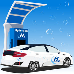 Hydrogen car charge point - Fuel cell vehicle - hydrogen-powered fuel cell - charge station - next fuel