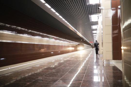 Subway car with empty seats. Empty subway.