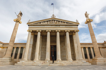 Printed kitchen splashbacks Exterior view of the Academy of Athens, Outside view of Ancient Greek style architecture in Athens, Greece