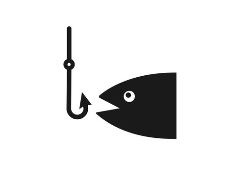 Fishing hook with fish icon vector