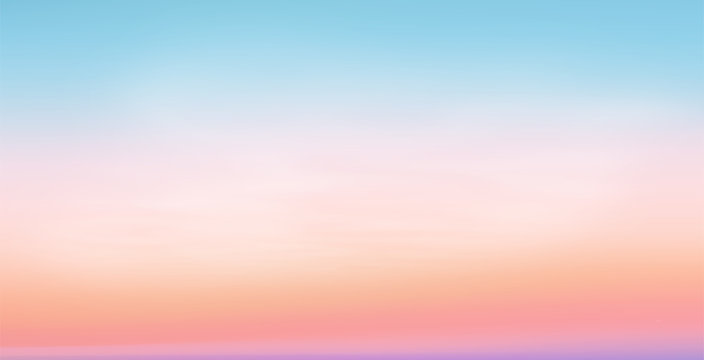 Pastel colors vector romantic sunrise sky background