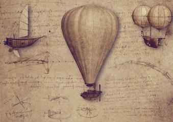 Vintage Luftfahrt Zeichnungen Schriften Leonardo da Vinci Ballon Steampunk Fantasie Collage