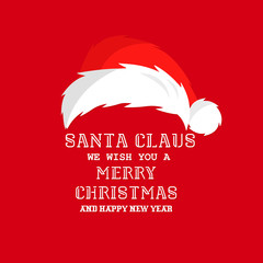 Santa Claus background. Vector santa hat
