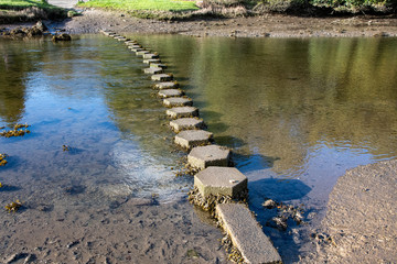 A set of tidal stepping stones across a river in Cornwall