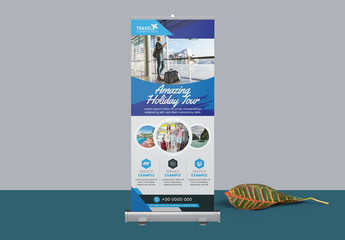 Blue Roll Up Banner Layout