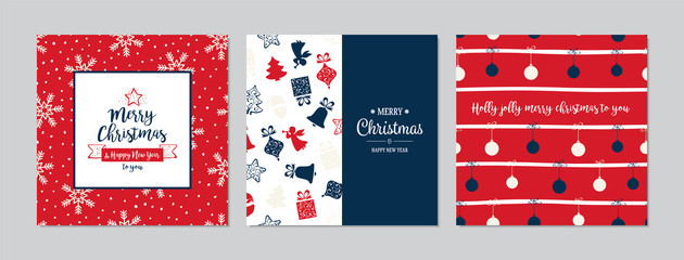 Merry Christmas square cards set with Santa Claus, baubles and gifts. Doodles and sketches vector Christmas illustrations.
