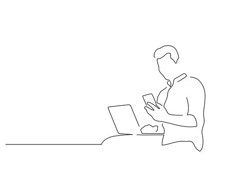 People using technology isolated line drawing, vector illustration design. People using technology collection.