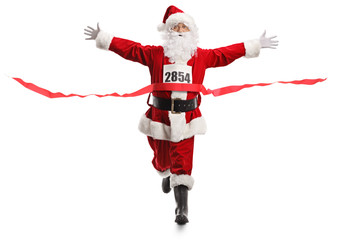 Santa Claus on the finish line of a race